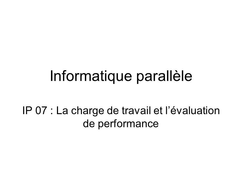 Informatique parallèle IP 07 : La charge de travail et l'évaluation de performance