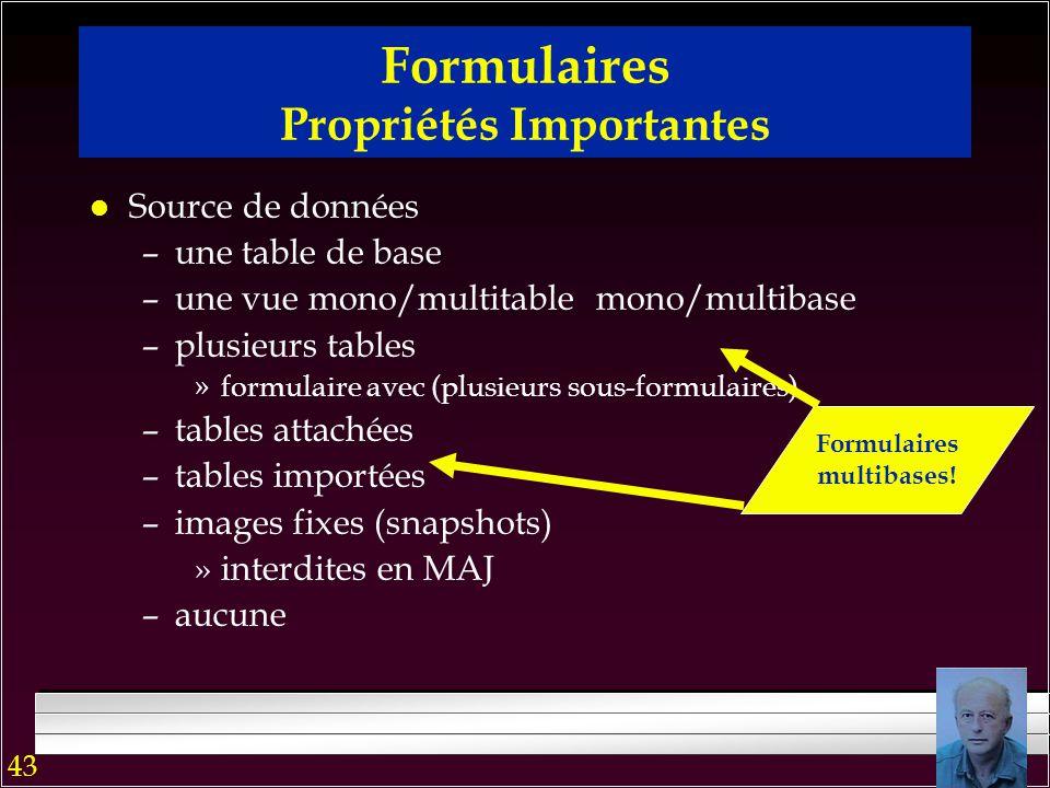 42 l relationnel étendu –relations imbriquées »formulaires avec sous-formulaires hiérarchisés –multi-relations »formulaire avec sous-formulaires indép