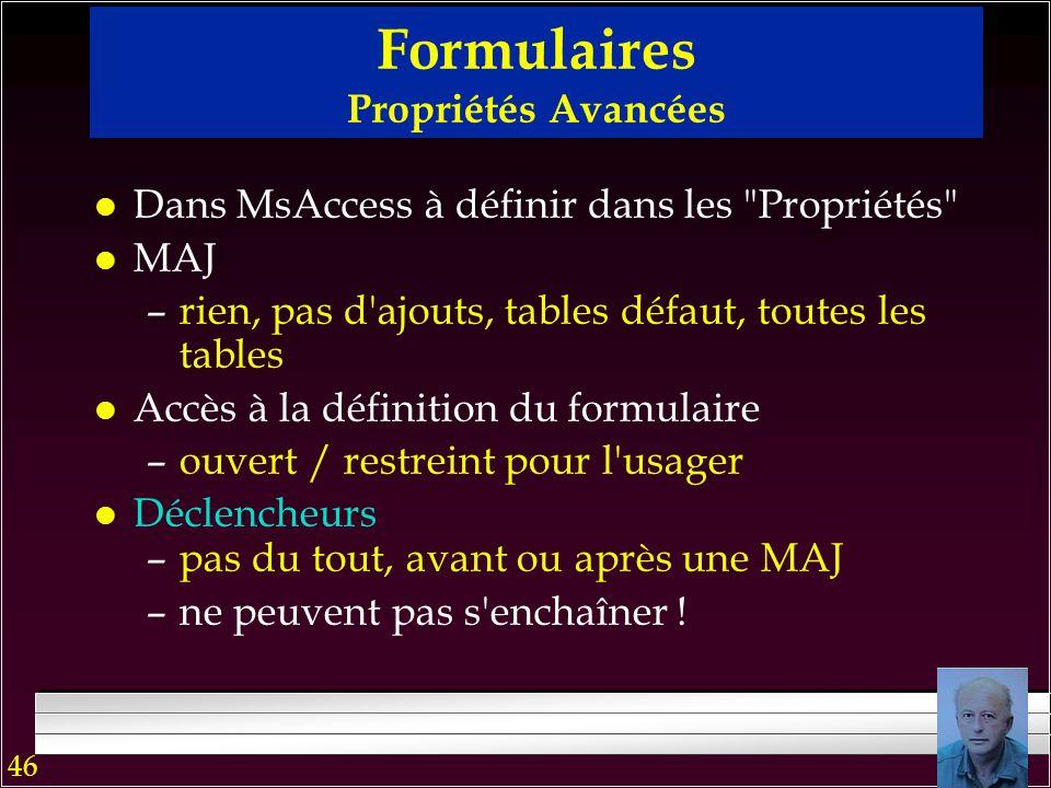 45 Formulaires : Principaux éléments de composition l Champs: En-tête, Détail, Bas-de-formulaire  Boîtes avec les données  texte  check (oui / non)