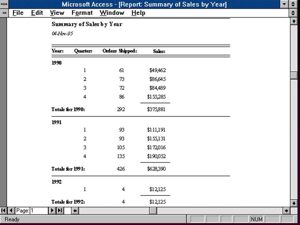 58 Générateurs de Rapports l Formulaires pour le papier –Rapports simples: auto-rapports –Rapports élaborés l Programmation d aspects non-SQL –manipulation de pages –valeurs agrégat par page »total en bas de page