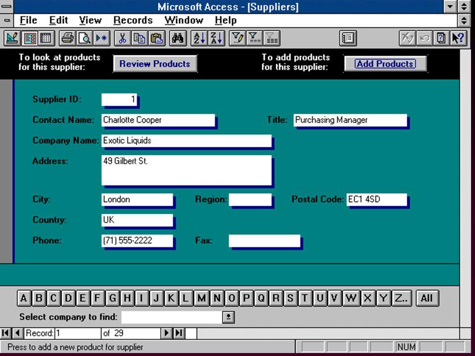64 l Assistants (ang. Wizards) –pour créer les tables, formulaires, graphiques, rapports...