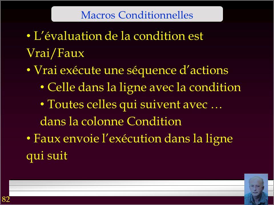 81 Macros Conditionnelles On peut créer des déclencheurs Avant ou après Insertion, MAJ… Vérifier que le code postal a 5 chiffres … On peut créer des a