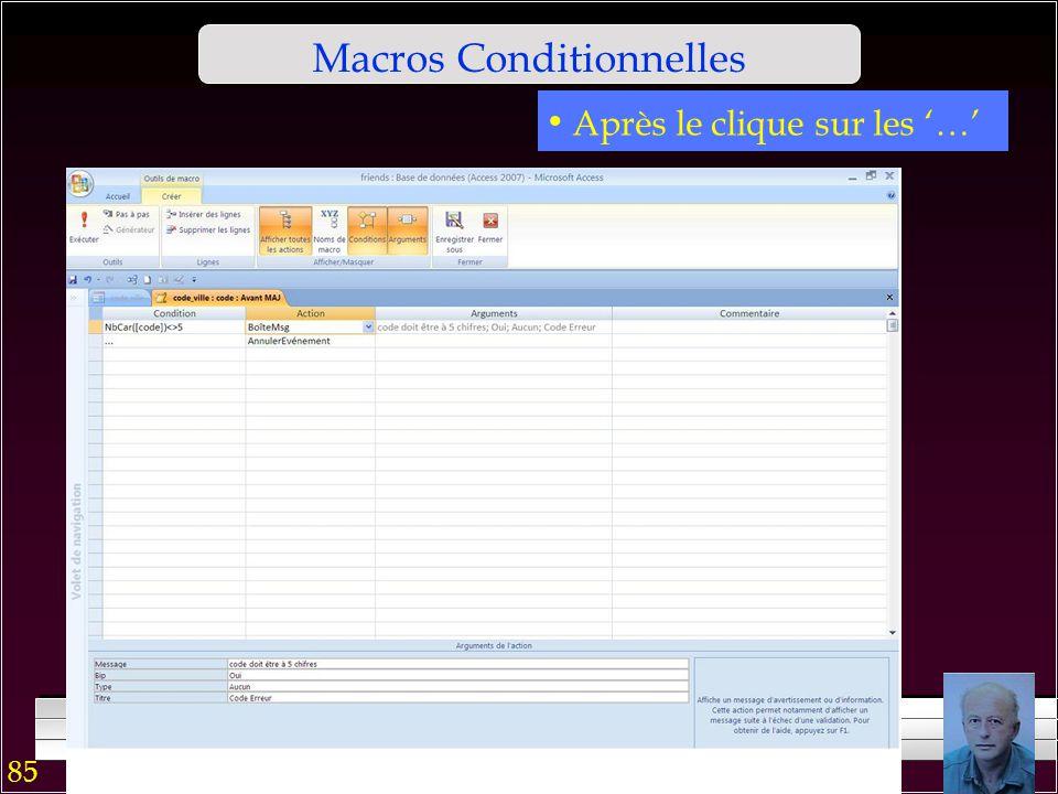 84 Macros Conditionnelles En mode page, après le clique sur le contrôle Code