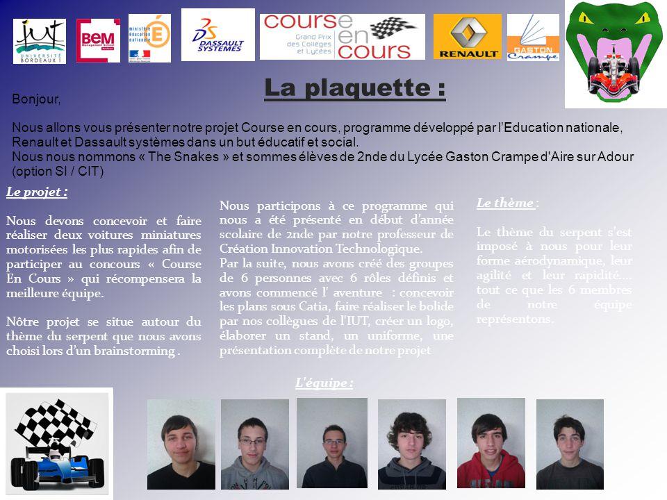 Bonjour, Nous allons vous présenter notre projet Course en cours, programme développé par l'Education nationale, Renault et Dassault systèmes dans un