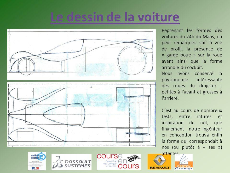 Le dessin de la voiture Reprenant les formes des voitures du 24h du Mans, on peut remarquer, sur la vue de profil, la présence de « garde boue » sur l