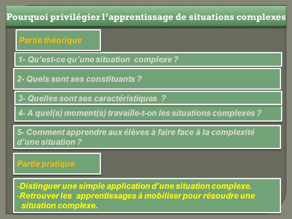 Pourquoi privilégier l'apprentissage de situations complexes 1- Qu'est-ce qu'une situation complexe ? 4- A quel(s) moment(s) travaille-t-on les situat