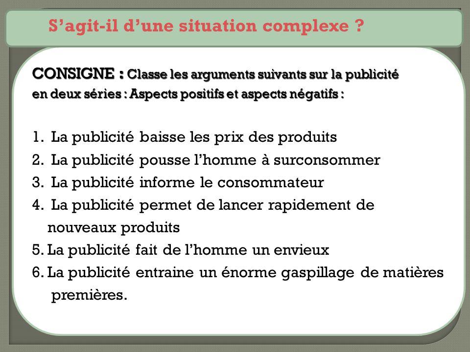 CONSIGNE : Classe les arguments suivants sur la publicité en deux séries : Aspects positifs et aspects négatifs : 1. La publicité baisse les prix des