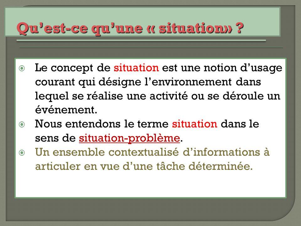  Le concept de situation est une notion d'usage courant qui désigne l'environnement dans lequel se réalise une activité ou se déroule un événement. 