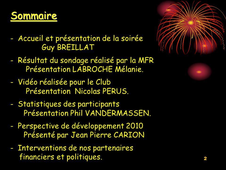 2 Sommaire - Accueil et présentation de la soirée Guy BREILLAT - Résultat du sondage réalisé par la MFR Présentation LABROCHE Mélanie.