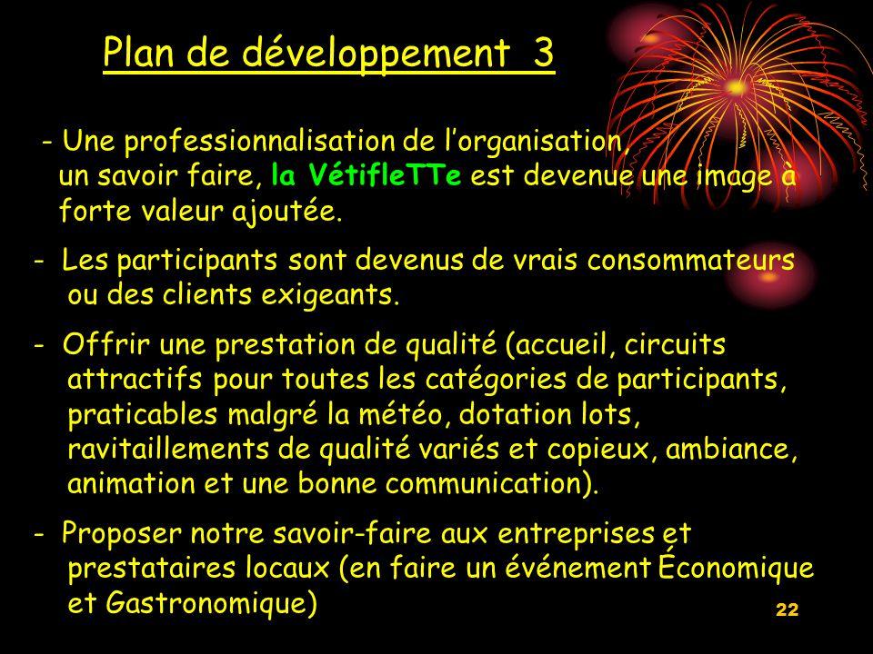 22 Plan de développement 3 - Une professionnalisation de l'organisation, un savoir faire, la VétifleTTe est devenue une image à forte valeur ajoutée.