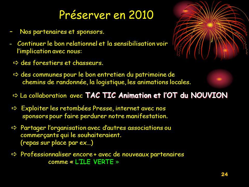 24 Préserver en 2010 - Nos partenaires et sponsors.