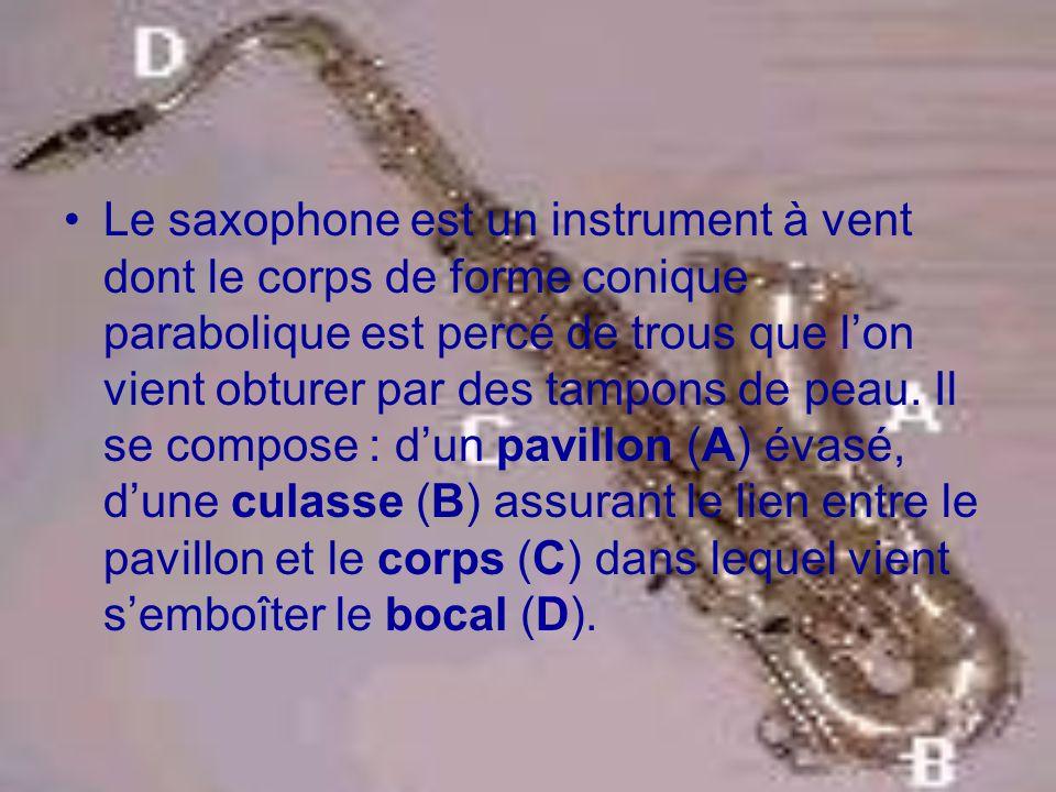 Le saxophone est un instrument à vent dont le corps de forme conique parabolique est percé de trous que l'on vient obturer par des tampons de peau.