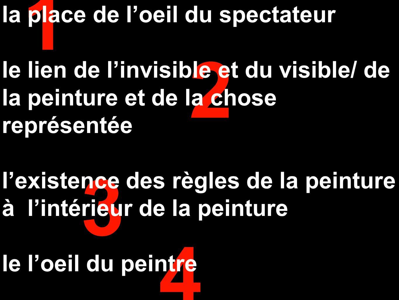 1 2 3 4 la place de l'oeil du spectateur le lien de l'invisible et du visible/ de la peinture et de la chose représentée l'existence des règles de la