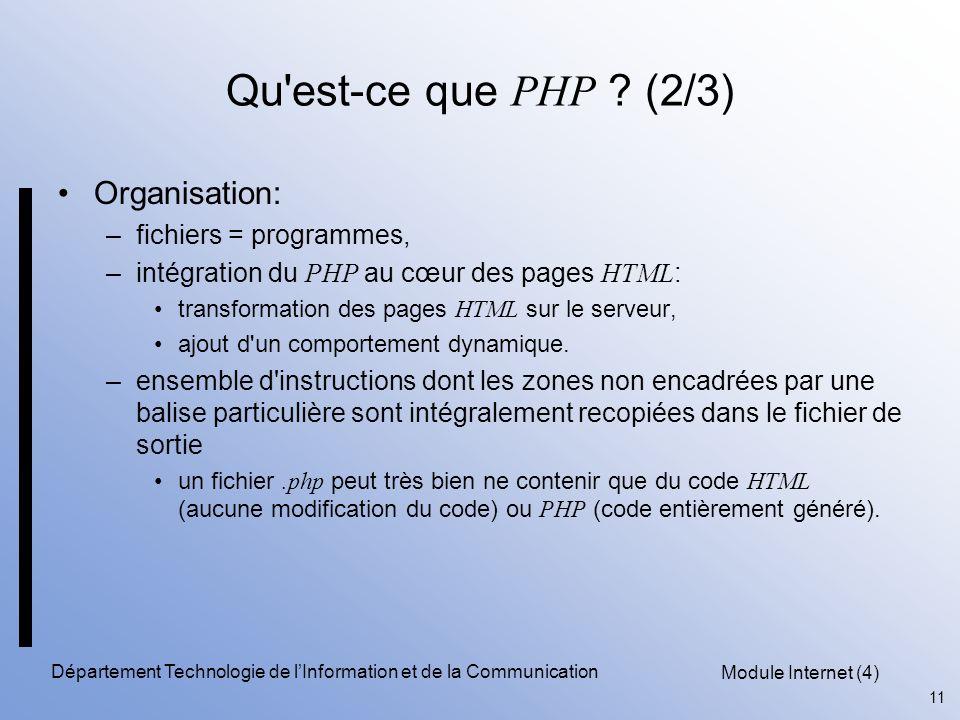 Module Internet (4) 11 Département Technologie de l'Information et de la Communication Qu'est-ce que PHP ? (2/3) Organisation: –fichiers = programmes,