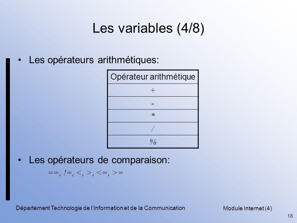 Module Internet (4) 18 Département Technologie de l'Information et de la Communication Les variables (4/8) Les opérateurs arithmétiques: Les opérateur