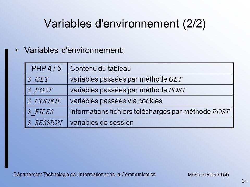 Module Internet (4) 24 Département Technologie de l'Information et de la Communication Variables d'environnement (2/2) Variables d'environnement: PHP