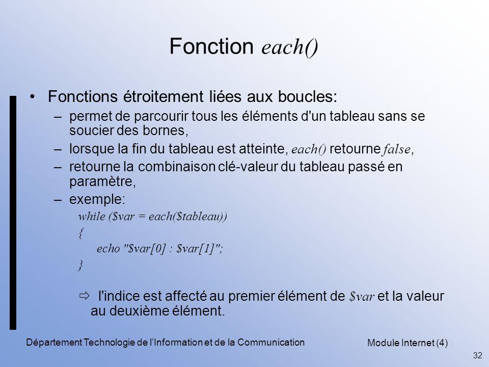 Module Internet (4) 32 Département Technologie de l'Information et de la Communication Fonction each() Fonctions étroitement liées aux boucles: –perme