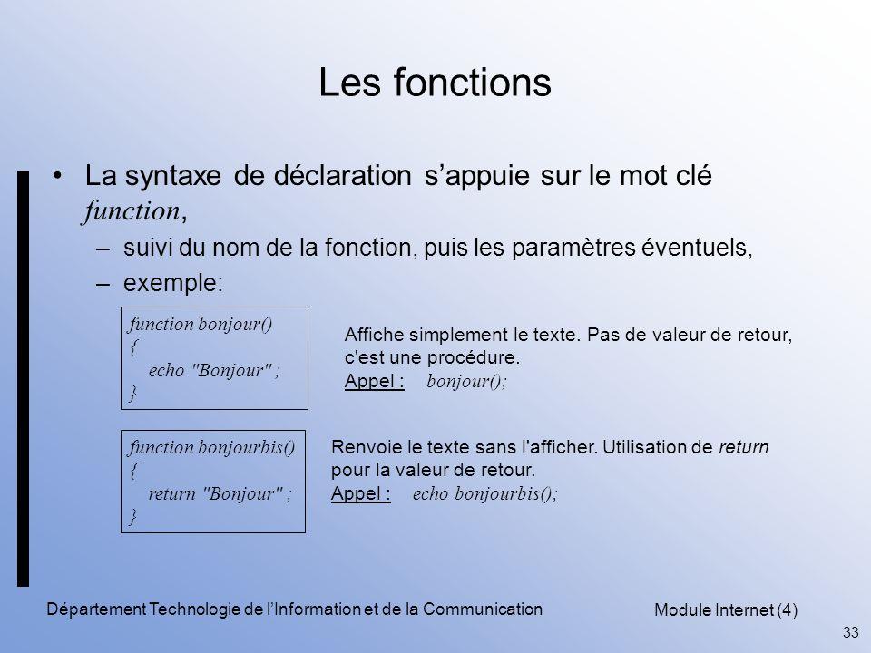 Module Internet (4) 33 Département Technologie de l'Information et de la Communication Les fonctions La syntaxe de déclaration s'appuie sur le mot clé