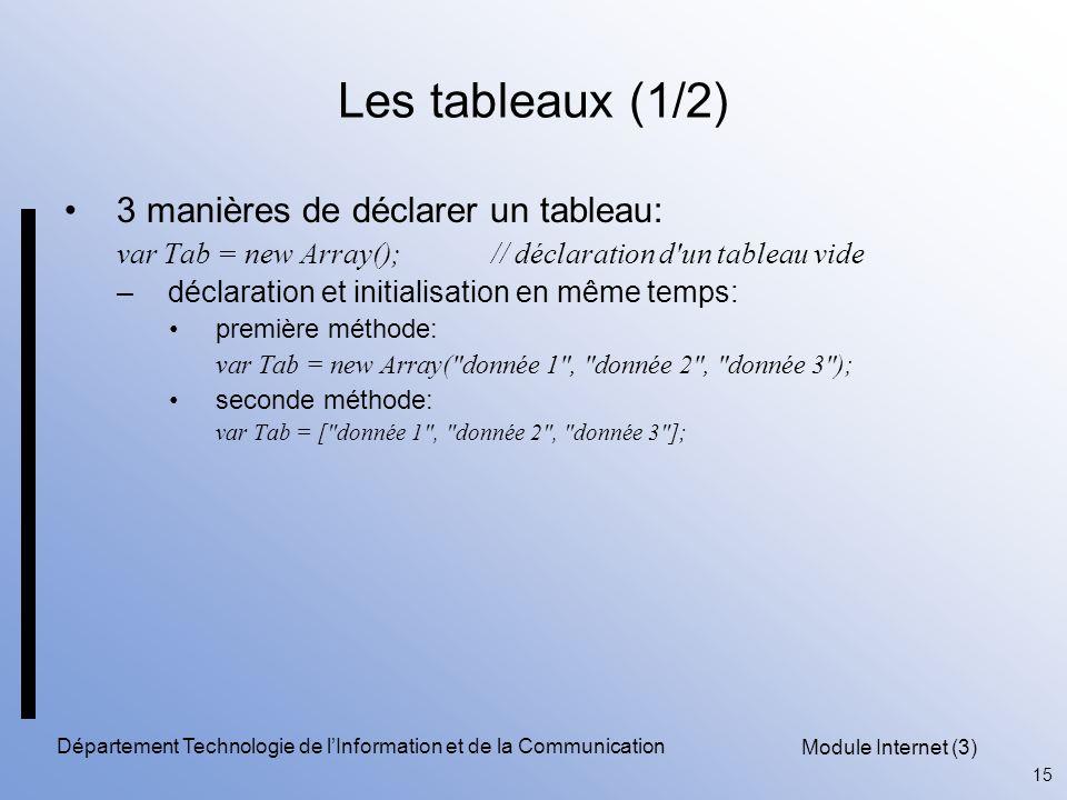 Module Internet (3) 15 Département Technologie de l'Information et de la Communication Les tableaux (1/2) 3 manières de déclarer un tableau: var Tab = new Array(); // déclaration d un tableau vide –déclaration et initialisation en même temps: première méthode: var Tab = new Array( donnée 1 , donnée 2 , donnée 3 ); seconde méthode: var Tab = [ donnée 1 , donnée 2 , donnée 3 ];