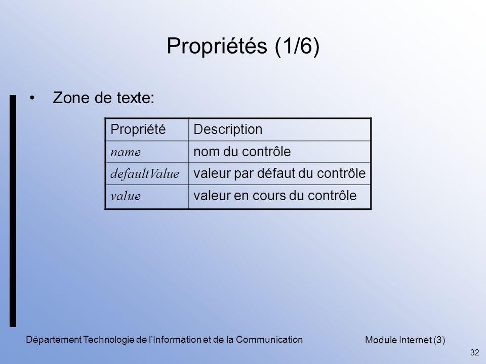 Module Internet (3) 32 Département Technologie de l'Information et de la Communication Propriétés (1/6) Zone de texte: PropriétéDescription name nom du contrôle defaultValue valeur par défaut du contrôle value valeur en cours du contrôle
