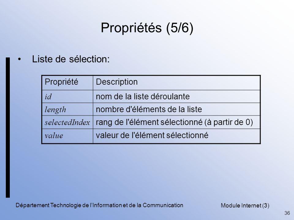 Module Internet (3) 36 Département Technologie de l'Information et de la Communication Propriétés (5/6) Liste de sélection: PropriétéDescription id nom de la liste déroulante length nombre d éléments de la liste selectedIndex rang de l élément sélectionné (à partir de 0) value valeur de l élément sélectionné