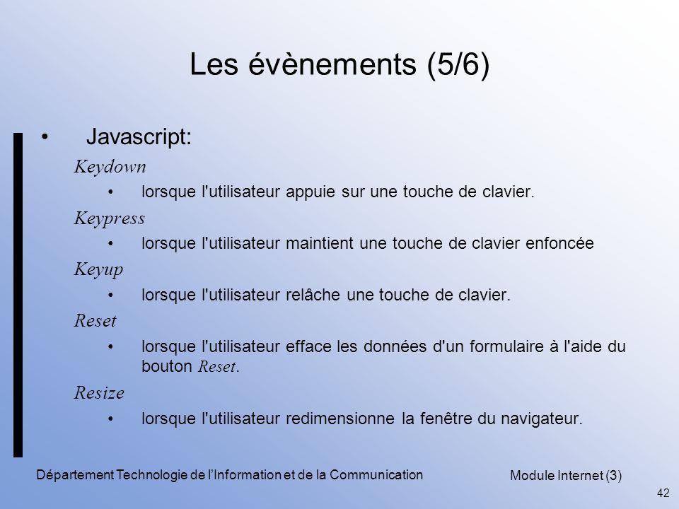 Module Internet (3) 42 Département Technologie de l'Information et de la Communication Les évènements (5/6) Javascript: Keydown lorsque l utilisateur appuie sur une touche de clavier.