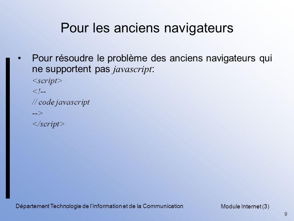 Module Internet (3) 9 Département Technologie de l'Information et de la Communication Pour les anciens navigateurs Pour résoudre le problème des anciens navigateurs qui ne supportent pas javascript : <!-- // code javascript -->