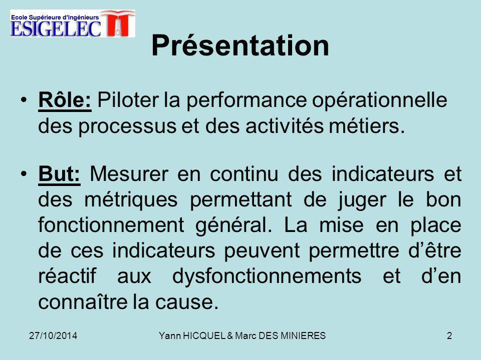 Présentation Rôle: Piloter la performance opérationnelle des processus et des activités métiers.