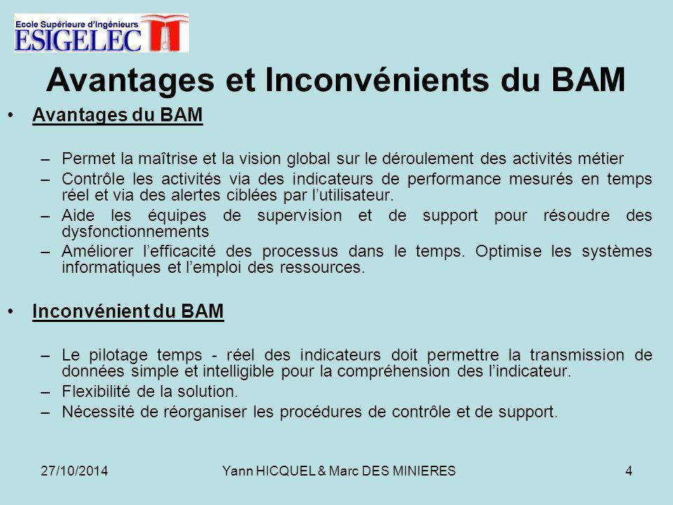 Avantages et Inconvénients du BAM Avantages du BAM –Permet la maîtrise et la vision global sur le déroulement des activités métier –Contrôle les activités via des indicateurs de performance mesurés en temps réel et via des alertes ciblées par l'utilisateur.