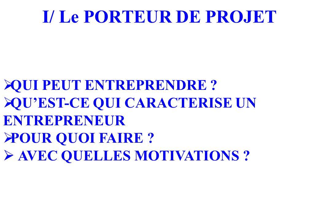 I/ Le PORTEUR DE PROJET  QUI PEUT ENTREPRENDRE .