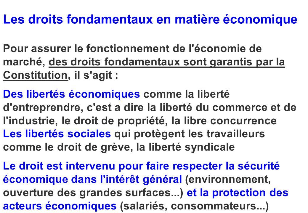 Les droits fondamentaux en matière économique Pour assurer le fonctionnement de l'économie de marché, des droits fondamentaux sont garantis par la Con