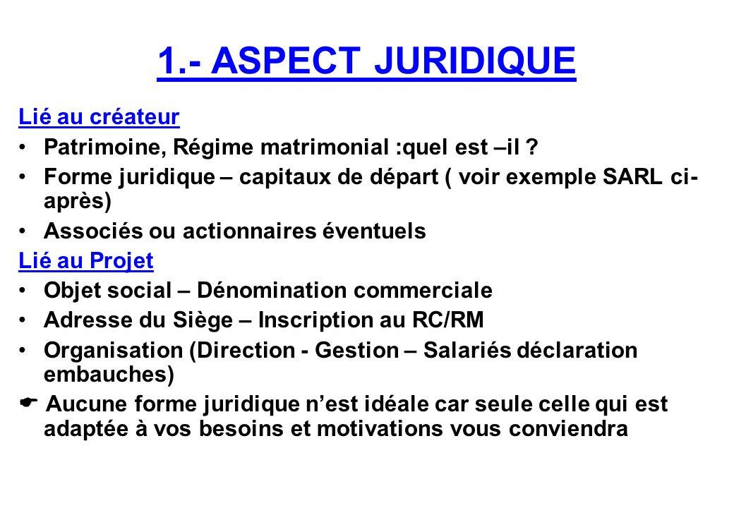1.- ASPECT JURIDIQUE Lié au créateur Patrimoine, Régime matrimonial :quel est –il ? Forme juridique – capitaux de départ ( voir exemple SARL ci- après