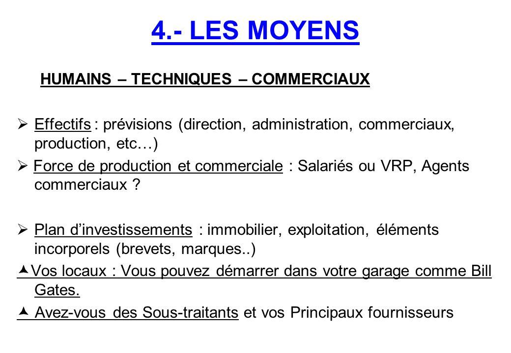 4.- LES MOYENS HUMAINS – TECHNIQUES – COMMERCIAUX  Effectifs : prévisions (direction, administration, commerciaux, production, etc…)  Force de produ