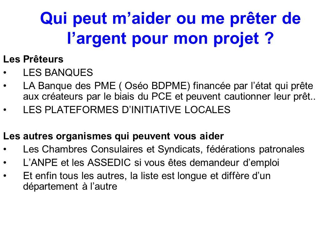 Qui peut m'aider ou me prêter de l'argent pour mon projet ? Les Prêteurs LES BANQUES LA Banque des PME ( Oséo BDPME) financée par l'état qui prête aux