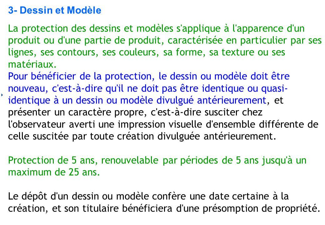 3- Dessin et Modèle La protection des dessins et modèles s'applique à l'apparence d'un produit ou d'une partie de produit, caractérisée en particulier
