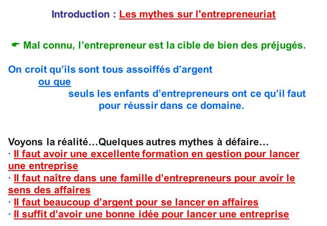 Introduction : Introduction : Les mythes sur l'entrepreneuriatLes mythes sur l'entrepreneuriat  Mal connu, l'entrepreneur est la cible de bien des pr