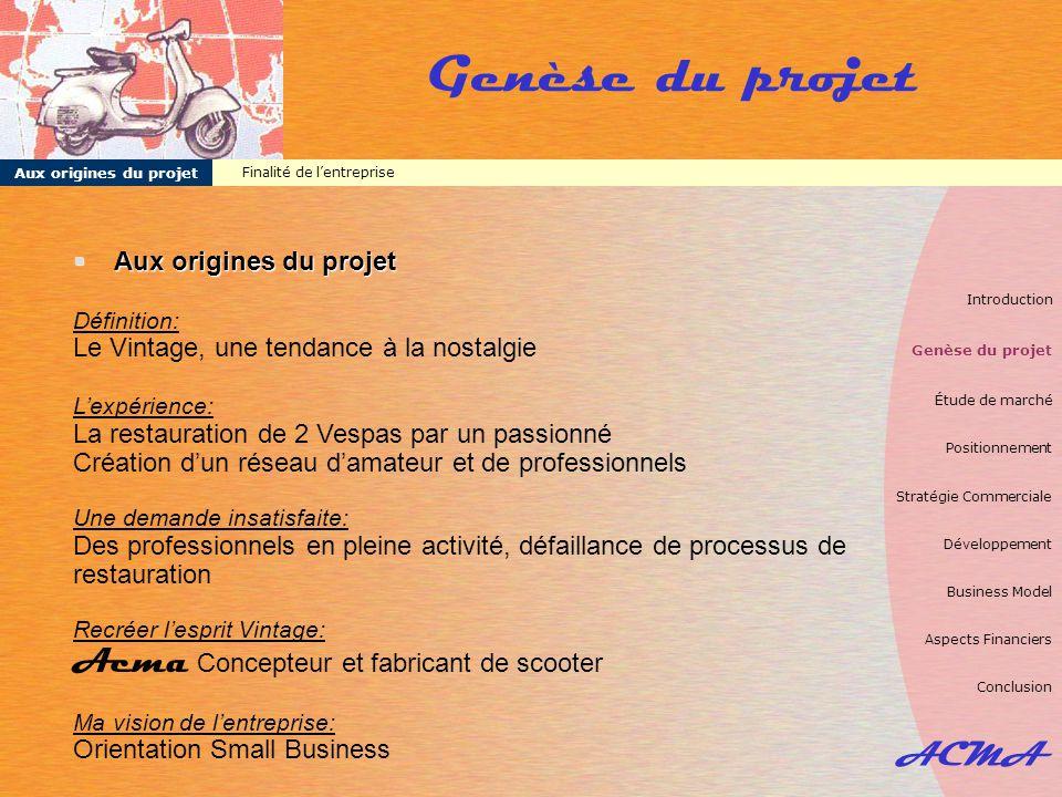 ACMA Conclusion Introduction Genèse du projet Étude de marché Positionnement Stratégie Commerciale Développement Business Model Aspects Financiers Conclusion