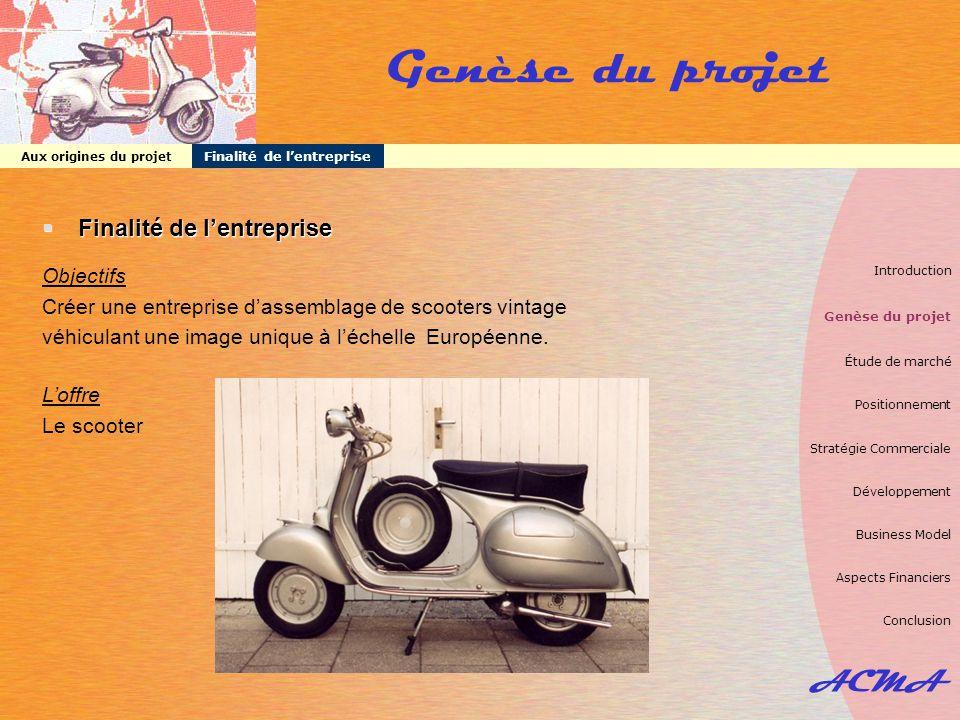 ACMA Genèse du projet  Finalité de l'entreprise Objectifs Créer une entreprise d'assemblage de scooters vintage véhiculant une image unique à l'échel