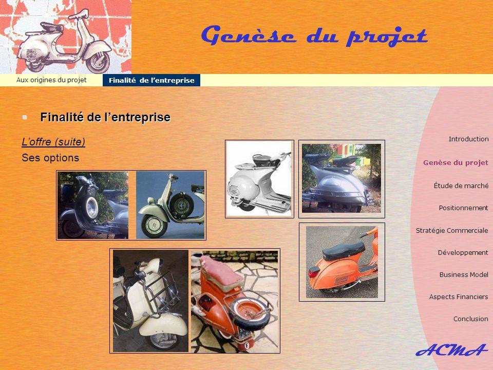 ACMA Aux origines du projet Finalité de l'entreprise Genèse du projet  Finalité de l'entreprise L'offre (suite) Ses options Introduction Genèse du pr