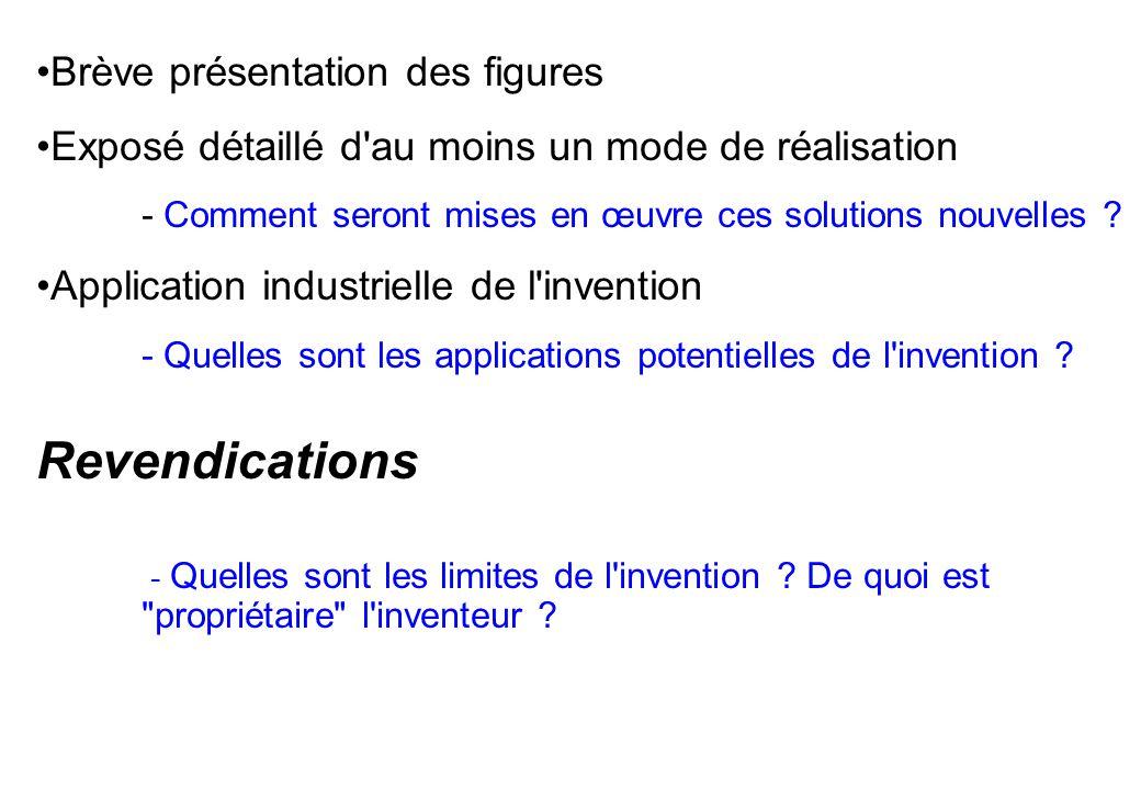 Brève présentation des figures Exposé détaillé d'au moins un mode de réalisation - Comment seront mises en œuvre ces solutions nouvelles ? Application