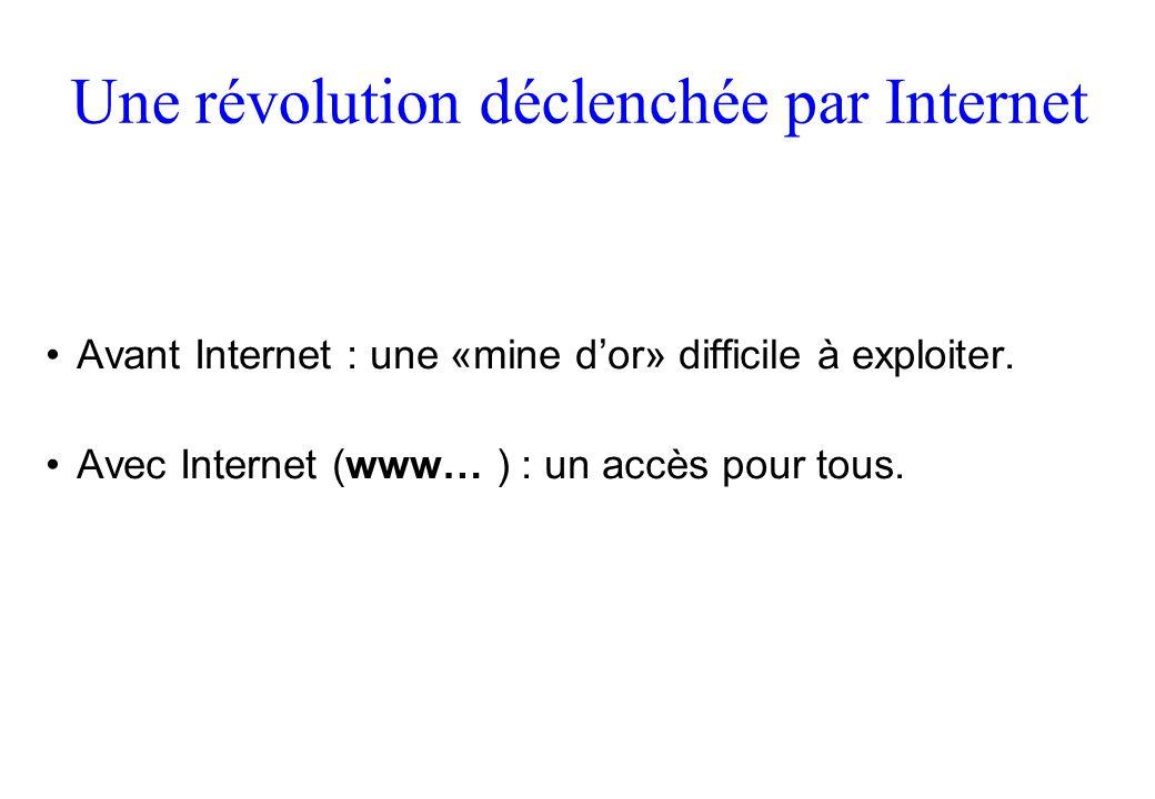 Une révolution déclenchée par Internet Avant Internet : une «mine d'or» difficile à exploiter. Avec Internet (www… ) : un accès pour tous.