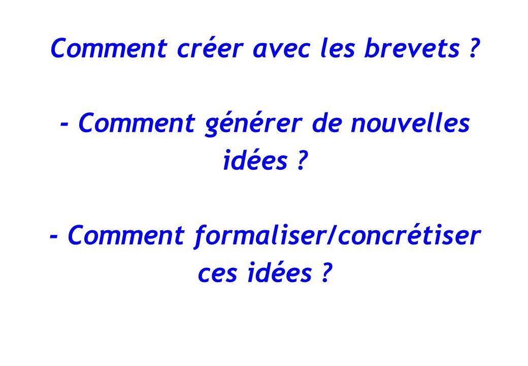 Comment créer avec les brevets ? - Comment générer de nouvelles idées ? - Comment formaliser/concrétiser ces idées ?