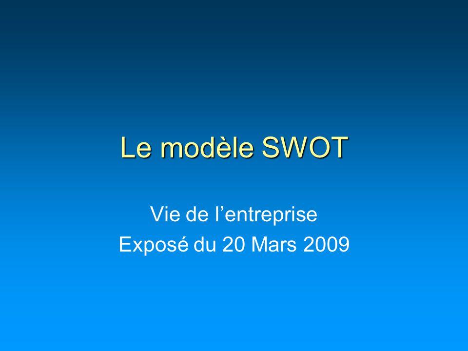 Le modèle SWOT Vie de l'entreprise Exposé du 20 Mars 2009