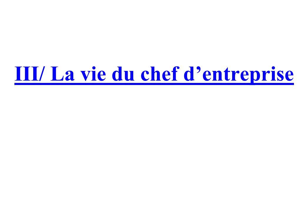 III/ La vie du chef d'entreprise