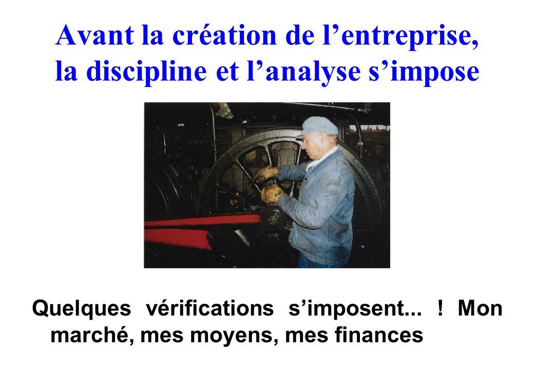 Avant la création de l'entreprise, la discipline et l'analyse s'impose Quelques vérifications s'imposent... ! Mon marché, mes moyens, mes finances