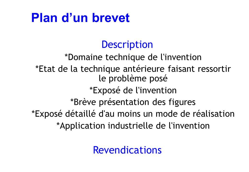 Plan d'un brevet Description *Domaine technique de l'invention *Etat de la technique antérieure faisant ressortir le problème posé *Exposé de l'invent