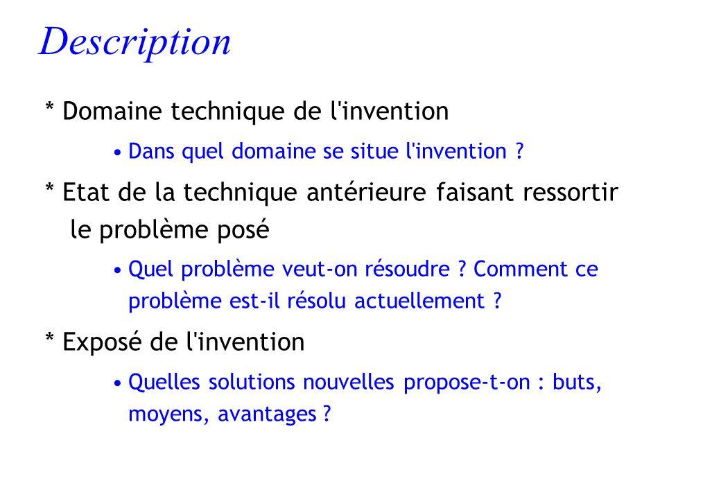 Description * Domaine technique de l'invention Dans quel domaine se situe l'invention ? * Etat de la technique antérieure faisant ressortir le problèm