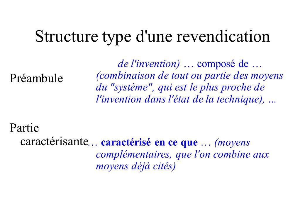 Structure type d une revendication Préambule Partie caractérisante (Objet de l invention) … composé de … (combinaison de tout ou partie des moyens du système , qui est le plus proche de l invention dans l état de la technique),...
