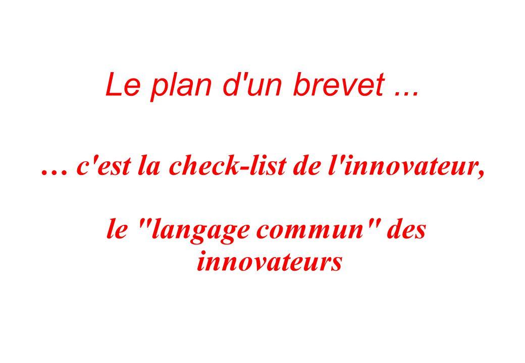 Le plan d un brevet... … c est la check-list de l innovateur, le langage commun des innovateurs