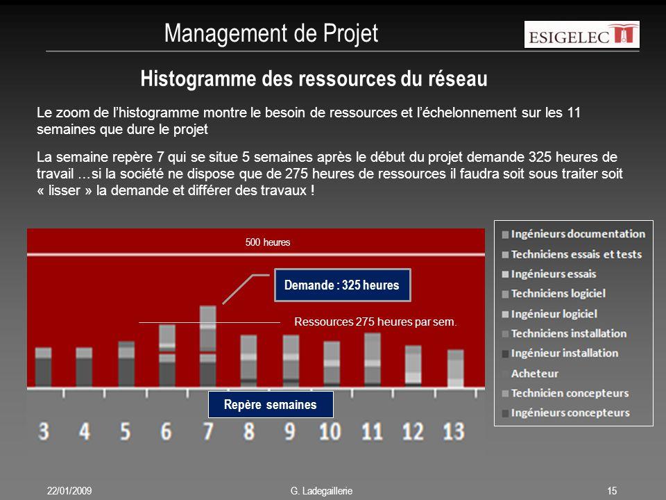 Management de Projet 22/01/200915 G. Ladegaillerie Histogramme des ressources du réseau 500 heures Le zoom de l'histogramme montre le besoin de ressou